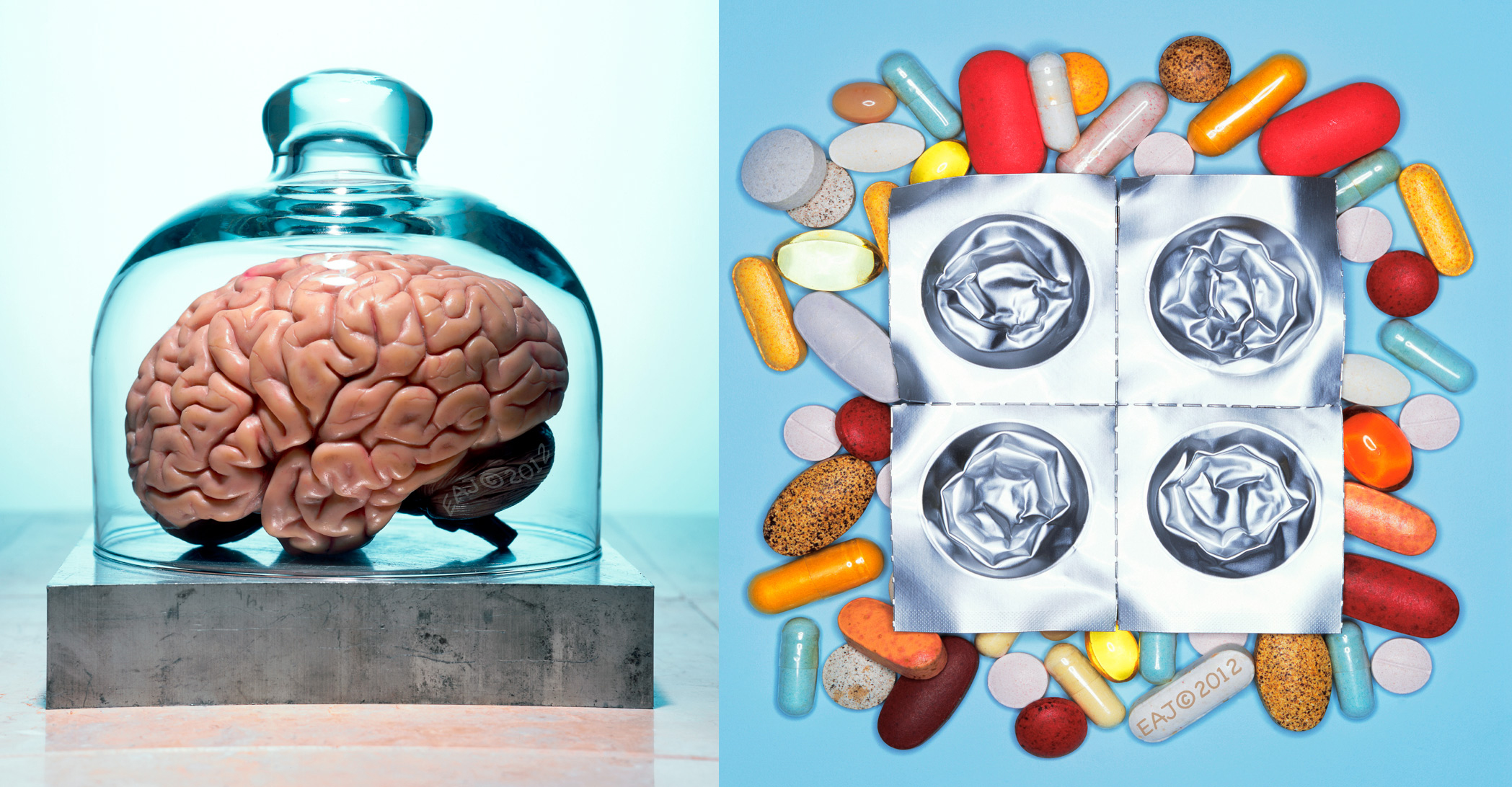Glass domed Brain / Pills vitamins